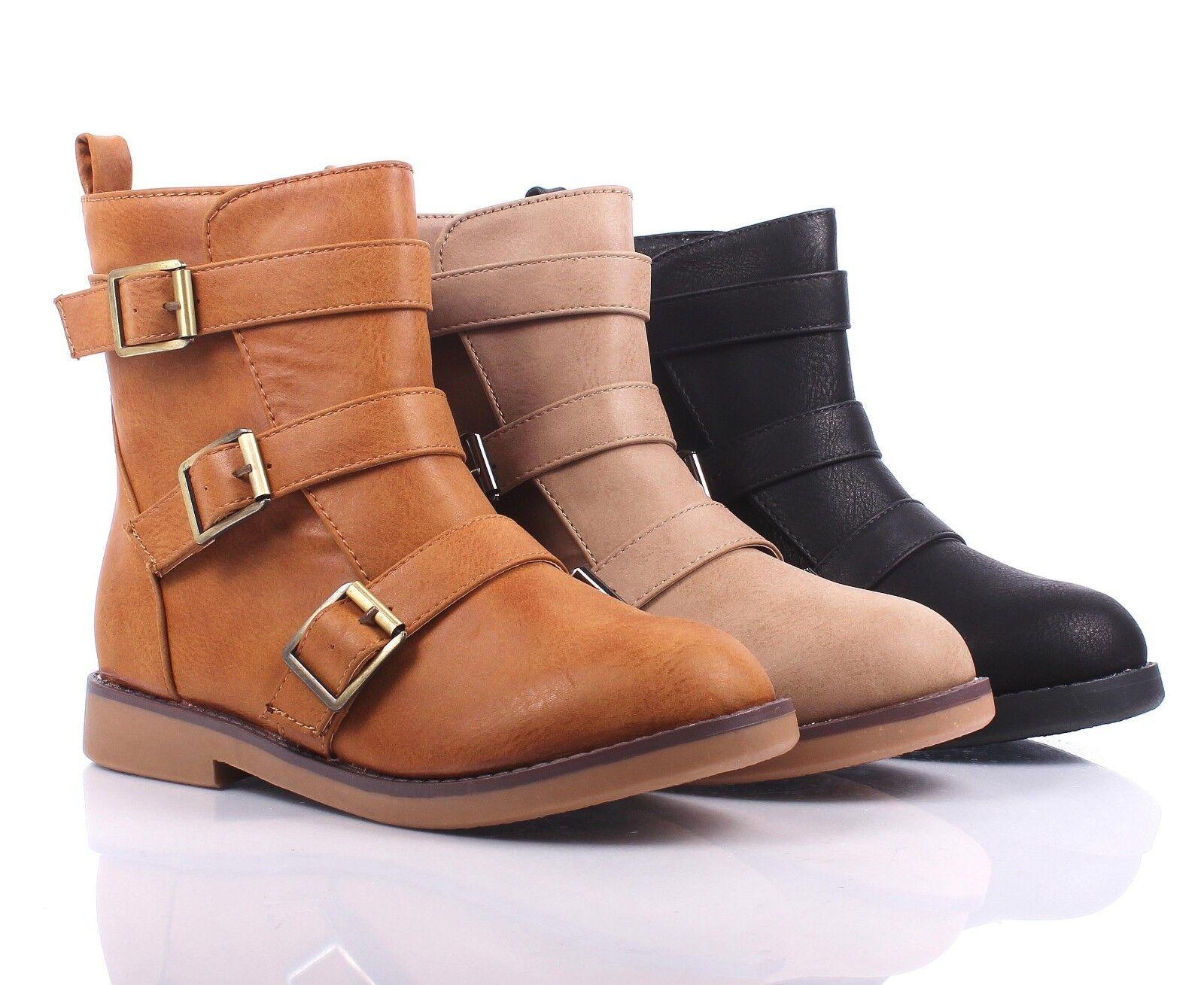 3 Color Combat Military Side Buckles Zipper Open Mid Calf Low Heels Women Boots