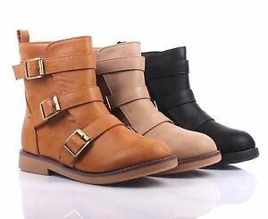 3 Color Combat Military Side Buckles Zipper Open Mid Calf Low Heels Women Boots