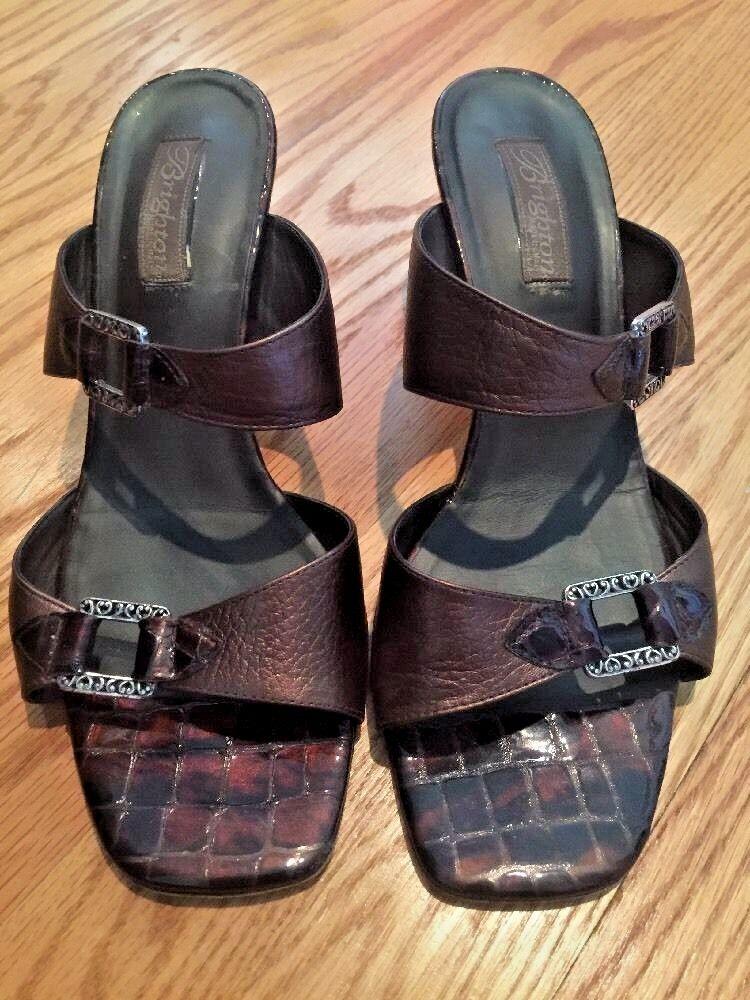 BRIGHTON Chaussures Femme Talons Hauts Chaussures Tatum En Cuir Alligator sz 9.5 Made in
