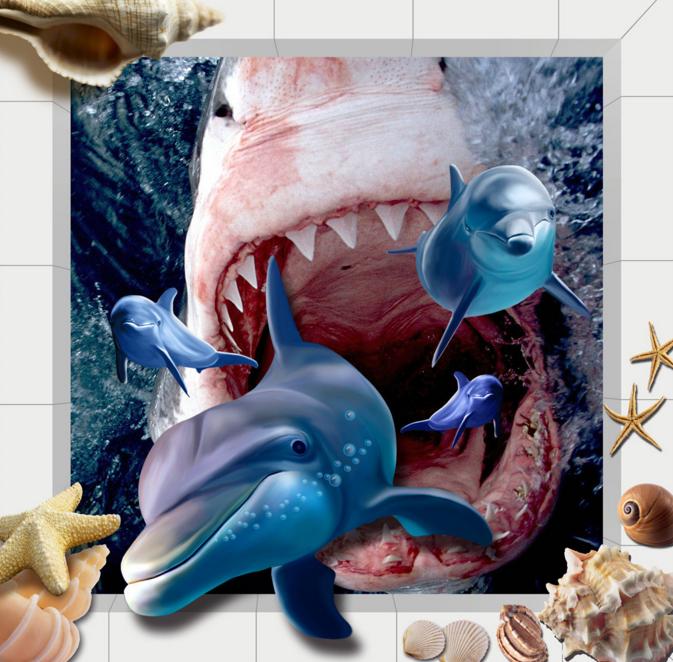3D Shark Dolphins 524 Floor WallPaper Murals Wall Print 5D AJ WALLPAPER UK Lemon