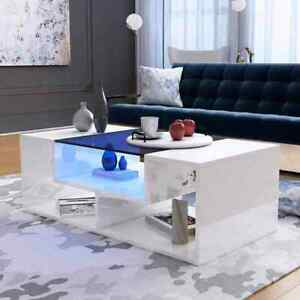 Details About Modern High Gloss Led Coffee Tea Table Living Room Table Whiteblack Glass Top