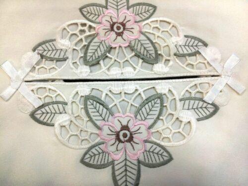 Grant Linen Embroidered Cutwork Tissue Box Cover