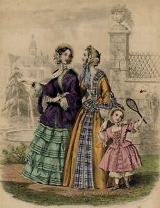 Magasin-des-familles-Enfantina-Jeu-Raquette-Mode-Gravure-ancienne-originale