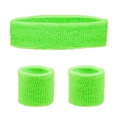 GREEN Neon Sweatbands Wristbands Headband Bright Wrist Bands Fancy Dress 80s 90s