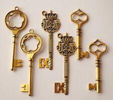 6 Scheletri Grande Oro Antico Dorato Chiave Ciondolo Pendente Matrimonio 60-75mm