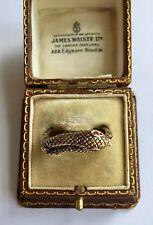 A Stunning Gold Black Enamel Snake Ring Set With Ruby Eyes Circa 1800's