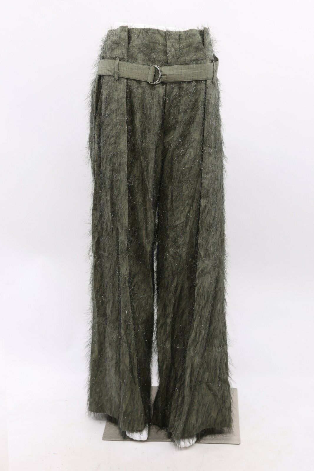 NWT 1645 Brunello Cucinelli Shimmery Fringed WideLeg Belted Dress Pant 42 6 A181