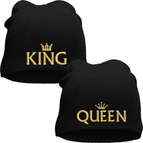 Strickmütze Active Beanie bestickt Motiv KING /& QUEEN und Krone in Gold Partner