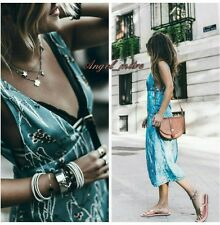 Zara Sky Blue Oriental Print Saten Midi Dress Size S 8