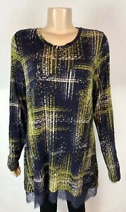 LOGO-by-Lori-Goldstein-Tunic-Top-XL-Lace-Trim-Hem-Stretch-Long-Sleeve-Blue-Green