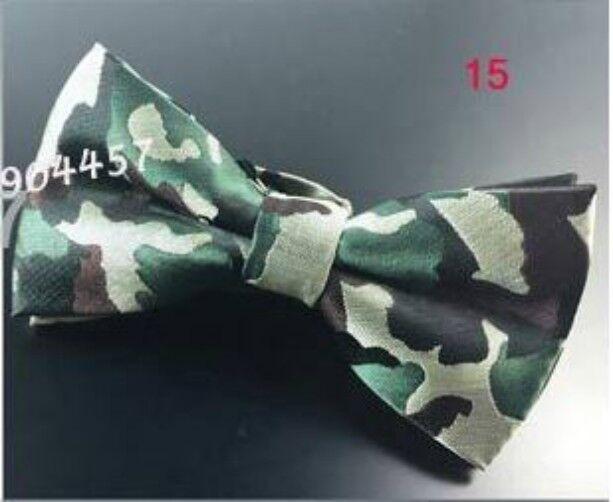 Unisex Novelty Fancy Dress Green Camouflage Pattern Bow Tie - Brand New