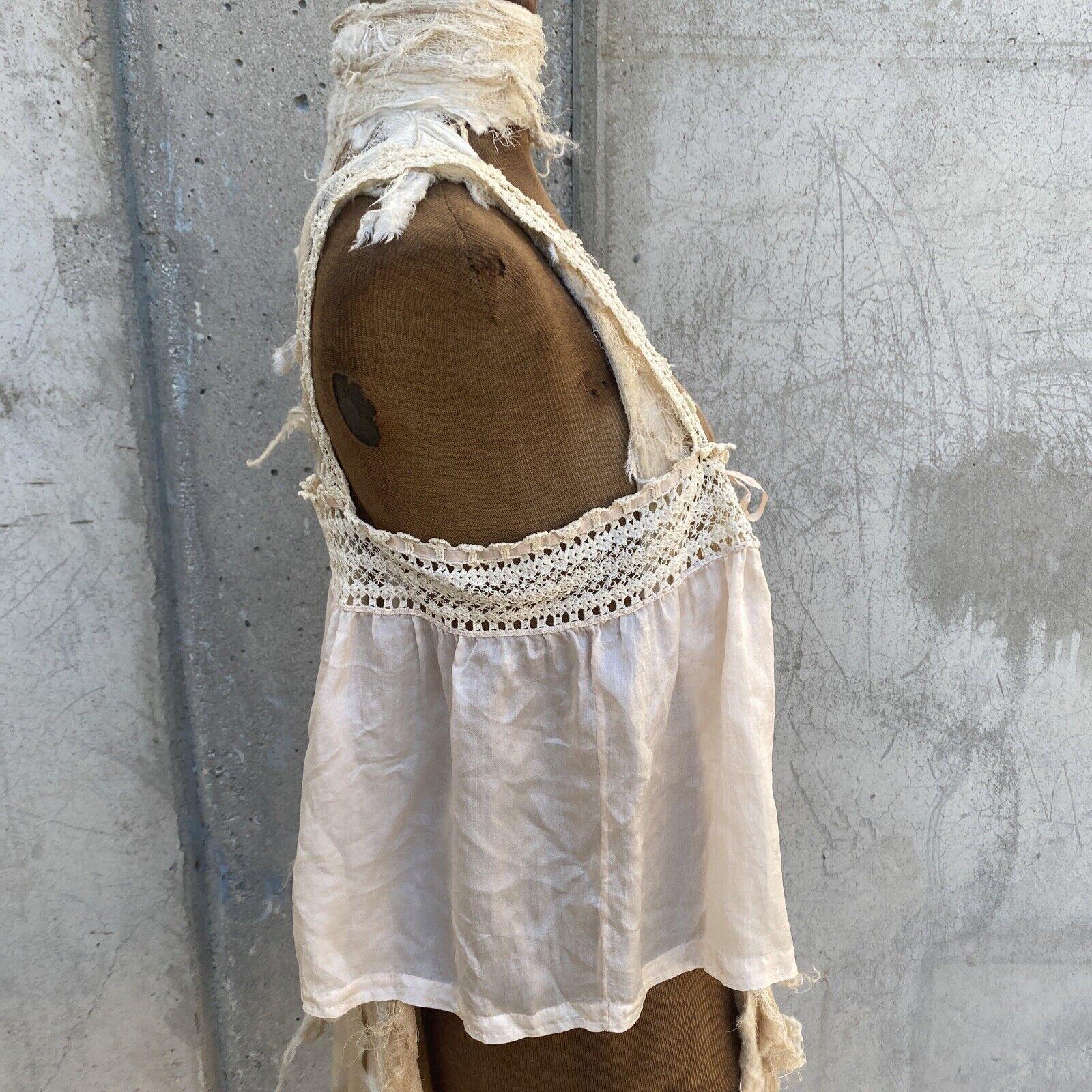 Antique Edwardian Pink Silk Blouse Corset Cover R… - image 2