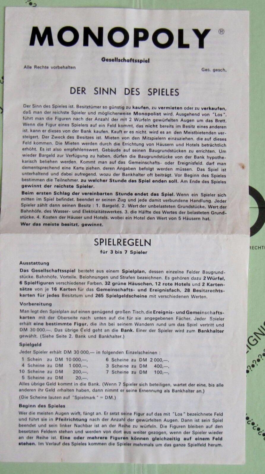 TOP ZUSTAND MONOPOLY  MONOPOLY ZUSTAND von SCHMIDT 1966  WEISSER SPIELPLAN  100 %  VOLLSTÄNDIG 37ecd1