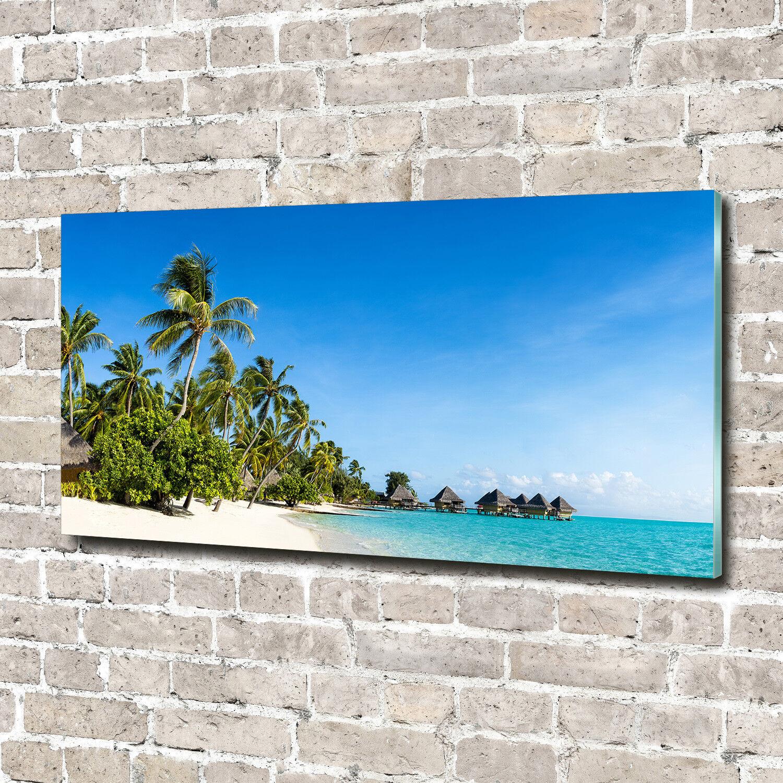 Glas-Bild Wandbilder Druck auf Glas 140x70 Deko Landschaften Strand in Karibik