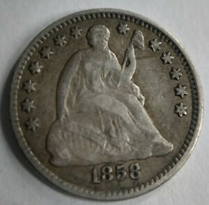 1858 Seated Liberty Half Dime Very Fine VF or XF Extremely Fine