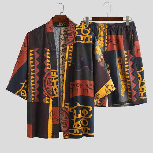 Men Summer Retro Linen Floral Suits Short Sleeve Shorts Kimono Jacket Set Pjs Pj