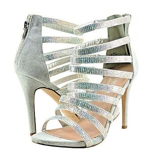95a9a1bbac3 Details about Women s Shoe Blossom Macy 40 Peep Toe Rhinestone Caged Heel  Silver Shimmer  New