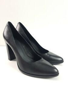Wittner-Black-Leather-Pump-Block-Heel-Corporate-Business-Shoe-Women-039-s-Size-EUR38