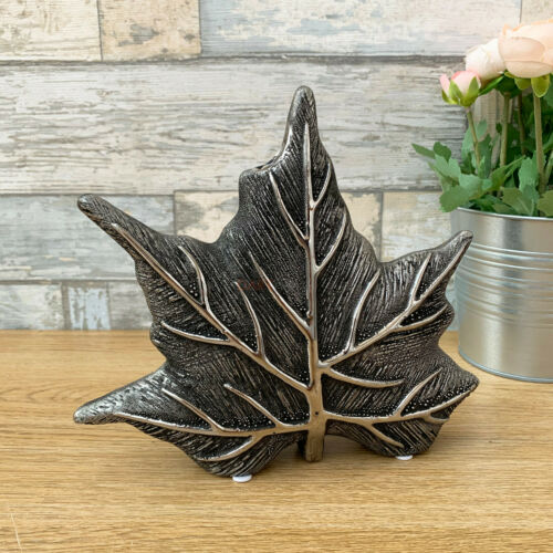 Modern Maple Leaf Gun Metal Ceramic Wedding Table Decorative Wide Flower Vase