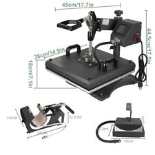 15 X 15 Lcd Screen Heat Press Machine 6 In1 Black For T Shirt Hat Cap Mug Plate