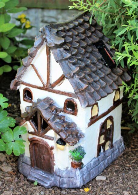 Solar garden decor large fairy house pixie Tudor outdoor ornament statue home