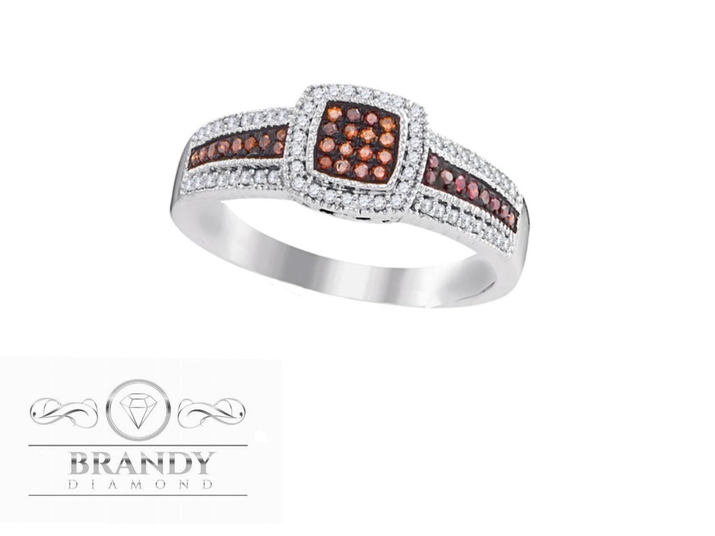 10K gold Brandy And White Diamond Chocolate Brown Luxurious Princess Ring .27 Ct