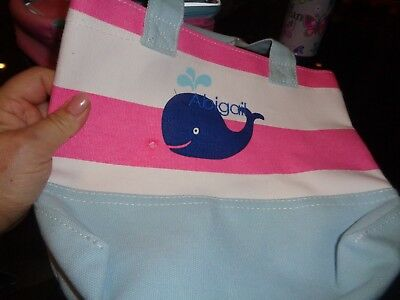 Pottery Barn Kids Mini Icon Tote Whale Stripe Pink White
