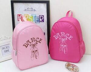 UK-Stock-New-Lovely-Girls-Kids-BALLET-BAG-Backpack-Rucksack-Dance-Bag-Pink-Rose