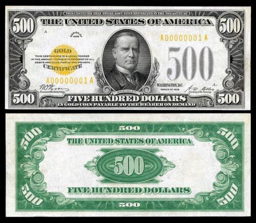 NICE CRISP UNCIRCULATED 1928 $500.00 COPY GOLD CERTIFICATE