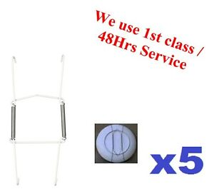 5x-Wire-Plate-Hanger-No-0-9-13cm-White-PVC-coated