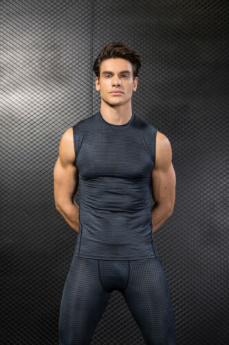 Men Fitness Gym Tank Tops Compression Wicking Cool Dry Tight fit Sleeveles Shirt