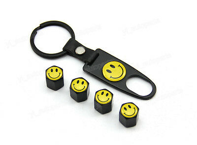 Black Tire Wheel Rims Stem Air Dust Valve Caps With Wrench Key Chain Smile Face