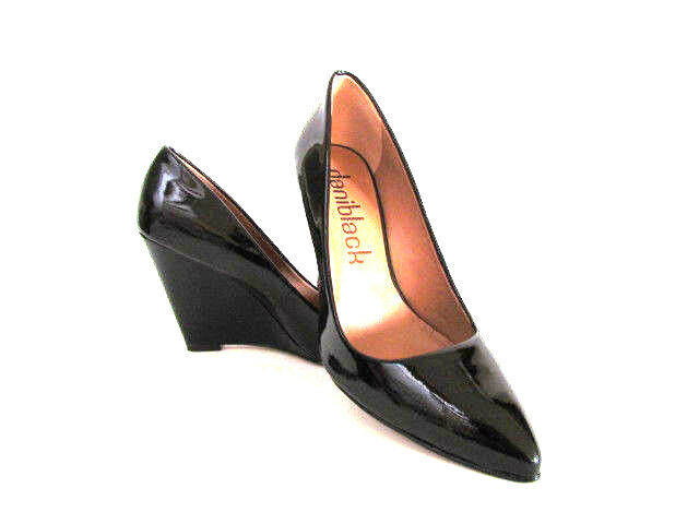 NEW DESIGNER DANI BLACK BLACK PATENT LEATHER ALANA TOO WEDGE PUMP 8 1/2  MED