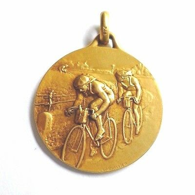 Antique Gold Fix Biking Medal Signed Lavrillier 1920s Cyclist
