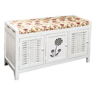 flurbank kommode bad landhaus sitzbank und schuhregal schuhschrank in wei neu ebay. Black Bedroom Furniture Sets. Home Design Ideas