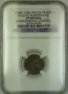 1200-1300-France-Valence-Silver-Denier-Coin-Roberts-4782-NGC-VF-Details-AKR