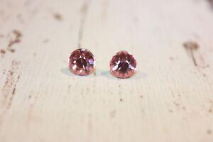 Ohrstecker-NEU-Ohrringe-silber-rosa-pink-Strass-rund-Kreis-klein-Strasssteine