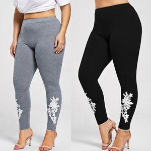 509650ca2bc30b Image is loading Women-Pants-Plus-Size-Lace-Applique-Elastic-Leggings-
