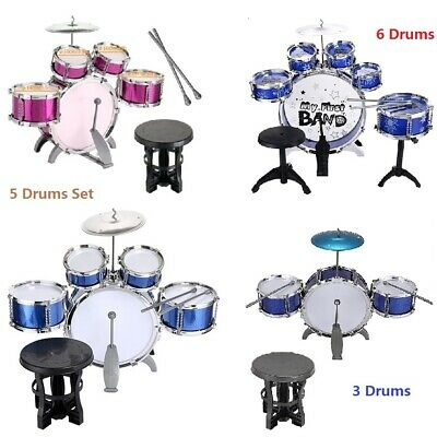NEW 3//5 Drums Drumsticks Jazz Set Kids Instrument Learning Play Fun Musical Toy