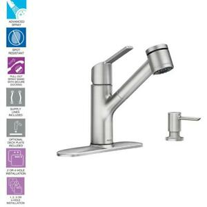 Details about MOEN Sombra Single-Handle Pull-Out Sprayer Kitchen Faucet  with Power Clean