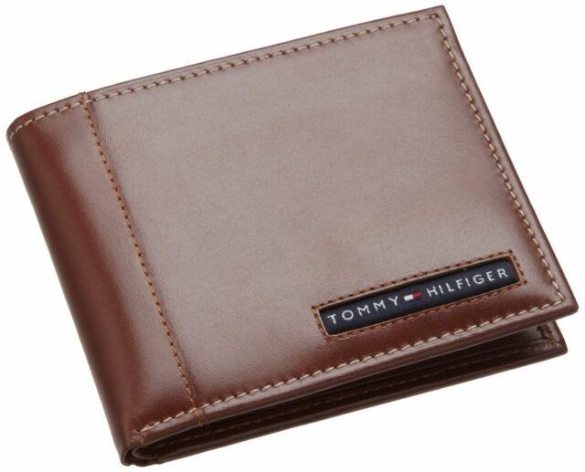 Tommy Hilfiger Men/'s Leather Credit Card Wallet Bifold Tan 31TL22X063