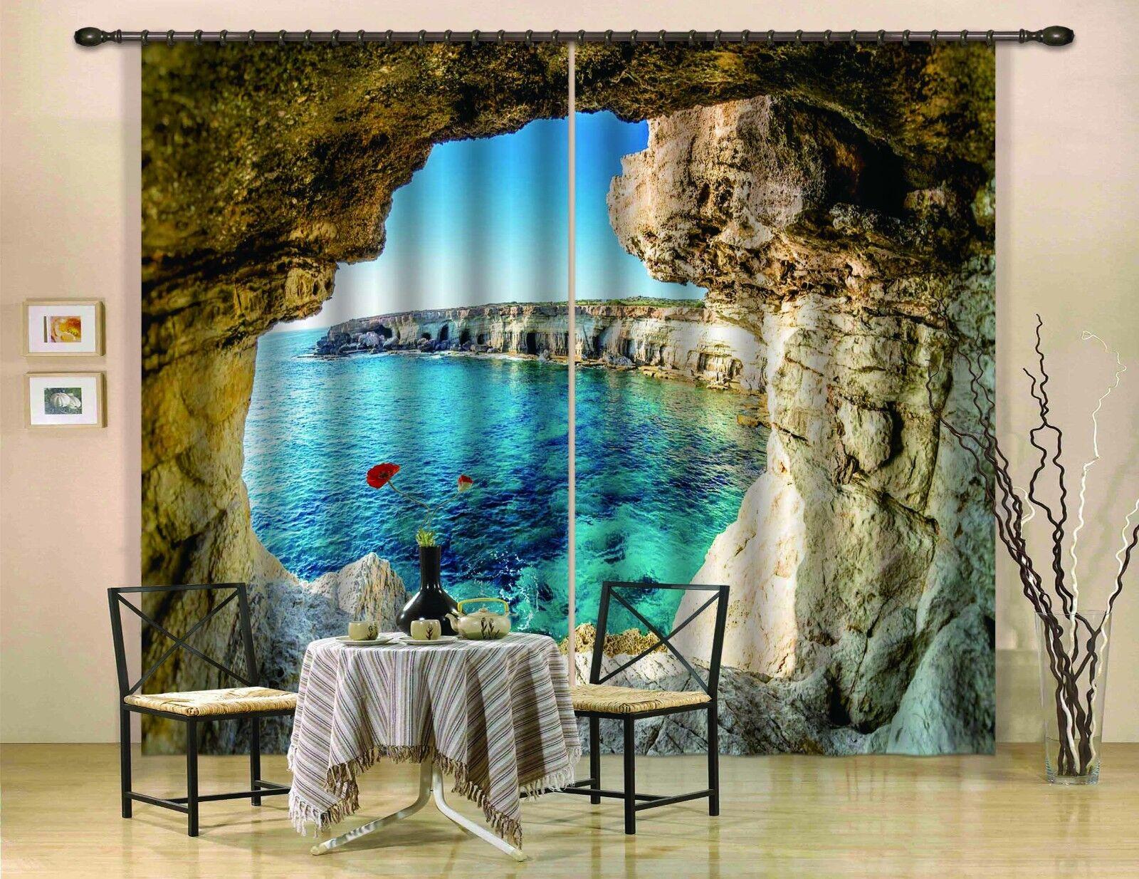 Cueva de mar 25 Blockout Foto 3D impresión Cortina Cortinas De Tela Cortinas Ventana au