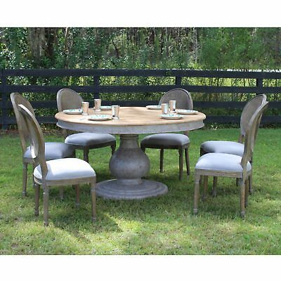 Gray Recycled Wood Inspired Dining Room Large Round Pillar Table Six Chairs Set | eBay