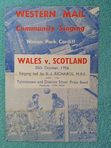 1956 WALES v SCOTLAND COMMUNITY SINGING SHEET BRITISH CHAMPIONSHIPS
