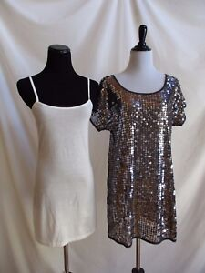 0e8249ed79 Lux Size S Urban Outfitters Sequin Tunic Top Taupe on Mesh + Damsel ...