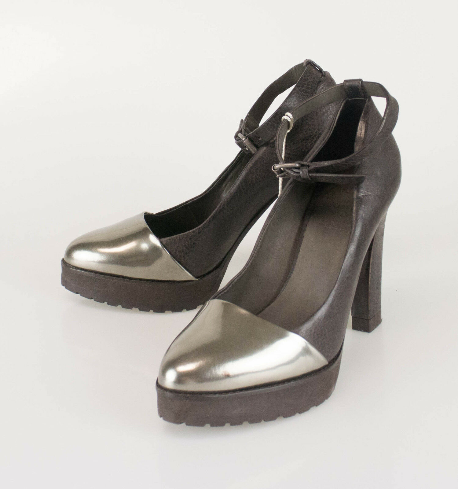 New BRUNELLO CUCINELLI Brown Leather Pumps Heels shoes Size 39.5 9.5