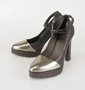 New.BRUNELLO CUCINELLI Brown Leather Strappy Open Toe High Heels Shoes 7//37 $872