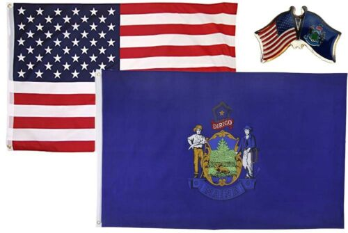 Wholesale Combo USA /& State of Maine 2x3 2/'x3/' Flag /& Friendship Lapel Pin