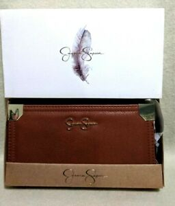 New-in-Box-Jessica-Simpson-FRANKIE-Luggage-Brown-Bifold-and-Zip-Around-Wallet