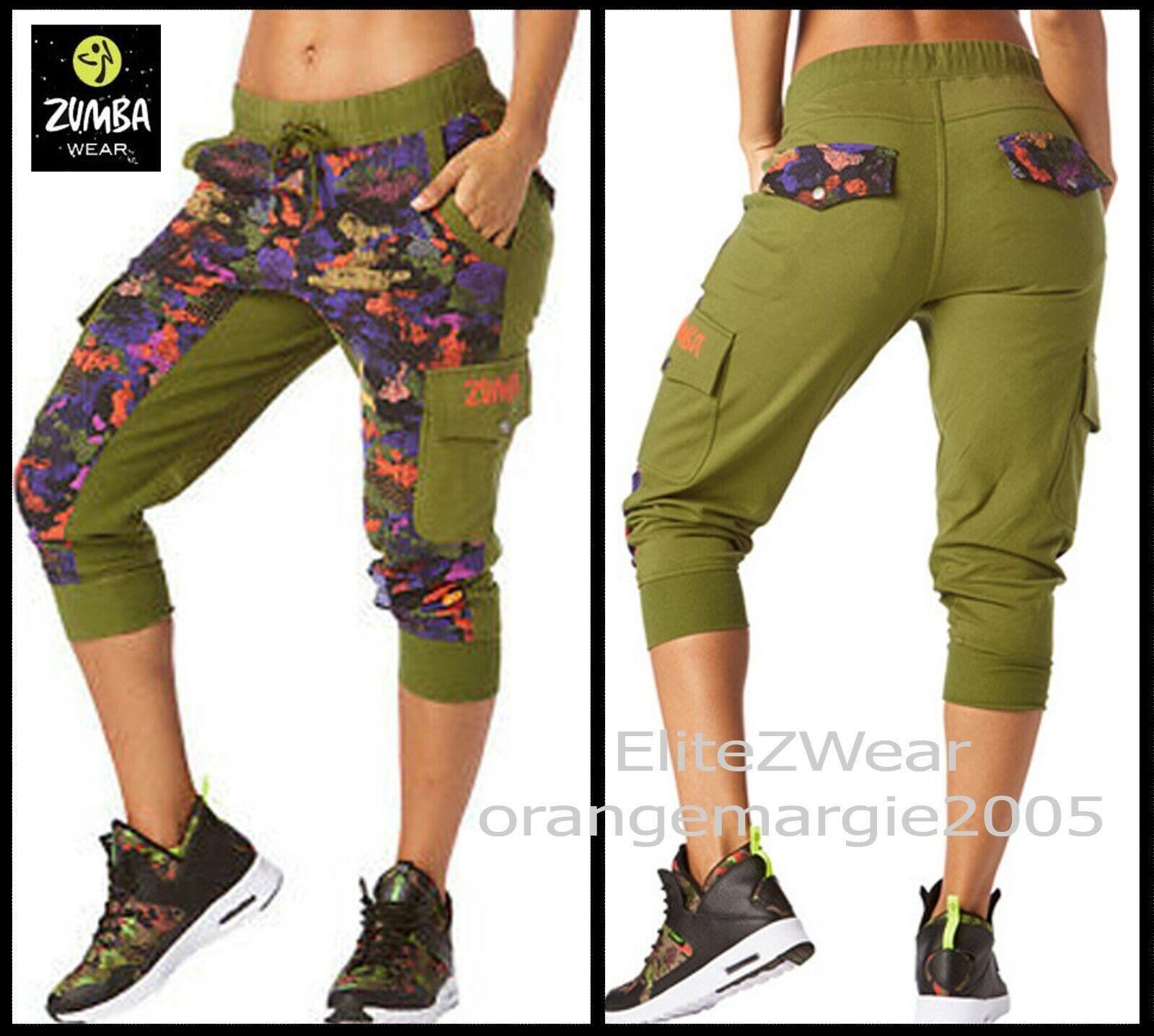 Zumba Club Camo French Terry Cargo Capri Dance Pants Hip-Hop Soft & Danceable XS